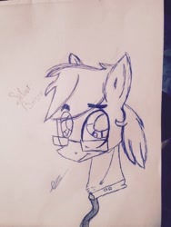 Size: 640x852 | Tagged: artist needed, source needed, safe, oc, oc only, oc:silver bristle, earth pony, pony, bust, chest fluff, eyebrows visible through hair, glasses, looking at you, male, necktie, paper, pencil drawing, photo, signature, solo, stallion, traditional art