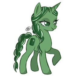 Size: 918x918 | Tagged: safe, alternate version, artist:cherrys_doodles, oc, oc only, oc:emerald shine, pony, unicorn, background removed, braid, braided tail, eyelashes, horn, raised hoof, simple background, solo, unicorn oc, white background