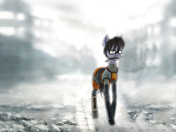 Size: 2000x1500 | Tagged: source needed, safe, artist:lbunicorn, artist:lostworld, oc, oc only, oc:silver bristle, earth pony, pony, blurred background, clothes, cosplay, costume, crowbar, glasses, gordon freeman, half-life, half-life 2, male, mouth hold, necktie, ruins, solo, stallion