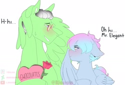Size: 2048x1402 | Tagged: safe, artist:shinningblossom12, oc, oc only, oc:drawing, oc:shinning blossom, pegasus, pony, bust, chocolate, dialogue, female, flower, food, male, mare, oc x oc, pegasus oc, rose, shipping, simple background, stallion, white background, wings