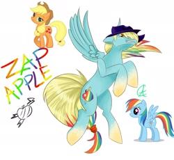 Size: 2267x2088 | Tagged: safe, applejack, rainbow dash, pegasus, apple, food, fusion, simple background, white background, zap apple