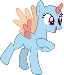 Size: 987x1156 | Tagged: safe, artist:pegasski, oc, oc only, alicorn, pony, parental glideance, alicorn oc, bald, base, eyelashes, hooves to the chest, horn, open mouth, raised hoof, simple background, smiling, solo, transparent background, two toned wings, wings