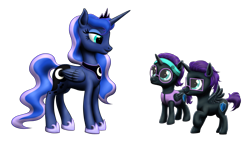 Size: 2575x1591 | Tagged: safe, artist:vasillium, princess luna, oc, oc:nox (rule 63), oc:nyx, alicorn, pony, accessories, adorable face, adorkable, alicorn oc, brother, brother and sister, clothes, colt, crown, cute, cutie mark, diabetes, dork, eyelashes, eyes open, family, female, filly, glasses, happy, headband, heartwarming, horn, jewelry, looking, looking at each other, male, nostrils, nyxabetes, open mouth, prince, princess, r63 paradox, regalia, royalty, rule 63, rule63betes, self paradox, self ponidox, shield, siblings, simple background, sister, smiling, spread wings, sweet, transparent background, twins, vest, wall of tags, wings