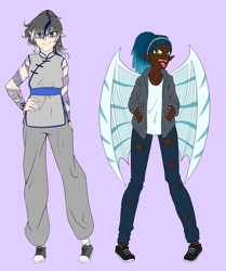 Size: 2036x2436 | Tagged: safe, artist:vnagato, oc, oc only, oc:flipside (ice1517), oc:moonstryk, human, vampire, icey-verse, bat wings, bracelet, clothes, converse, dark skin, ear piercing, elf ears, eyeshadow, fangs, female, glasses, humanized, jacket, jeans, jewelry, makeup, multicolored hair, necklace, pants, piercing, purple background, request, ripped jeans, shoes, simple background, tattoo, tongue out, tongue piercing, torn clothes, winged humanization, wings, wristband
