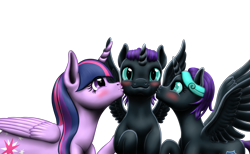 Size: 2575x1591 | Tagged: safe, artist:vasillium, oc, oc:nox (rule 63), oc:nyx, alicorn, pony, accessories, adorable face, adorkable, alicorn oc, blushing, brother, brother and sister, colt, cute, cutie mark, daughter, diabetes, dork, eyelashes, eyes open, family, female, filly, happy, heartwarming, high res, horn, kiss on the cheek, kissing, looking, looking at each other, male, mare, mother, mother and child, mother and daughter, mother and son, motherly love, nostrils, nyxabetes, parent and child, parent:twilight sparkle, prince, princess, r63 paradox, royalty, rule 63, rule63betes, self paradox, self ponidox, sibling bonding, sibling love, siblings, simple background, sisters, smiling, son, spread wings, stars, sweet, teasing, teeth, transparent background, twins, wall of tags, wings