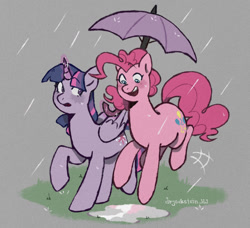 Size: 1280x1168 | Tagged: safe, artist:drjeksteinhj, pinkie pie, twilight sparkle, alicorn, earth pony, pony, female, lesbian, rain, shipping, twilight sparkle (alicorn), twinkie, umbrella
