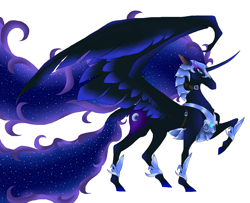 Size: 3256x2640 | Tagged: safe, artist:raizathe-dragon, nightmare moon, alicorn, pony, armor, curved horn, ethereal mane, ethereal tail, female, galaxy mane, horn, hybrid wings, mare, profile, raised hoof, signature, simple background, solo, spread wings, white background, wings