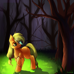 Size: 1600x1600 | Tagged: safe, artist:codliverno, applejack, butterfly, earth pony, pony, blank flank, cute, female, forest, insect on nose, jackabetes, raised hoof, signature, solo, tree