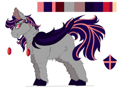Size: 2561x2000 | Tagged: safe, artist:shirofluff, oc, oc:galaxy rose, bat pony, ear fluff, fluffy, hooves, jewelry, pendant, redesign, reference sheet, smiling