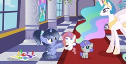 Size: 1280x654   Tagged: safe, artist:stellamoonshine, princess celestia, oc, oc:luminous moon, oc:stella moonshine, oc:sunny skies, alicorn, pony, unicorn, baby, baby pony, female, filly, magic