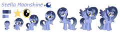 Size: 1280x331   Tagged: safe, artist:stellamoonshine, oc, oc:stella moonshine, alicorn, pony, 5-year-old, age progression, baby, baby pony, female, filly, mare, offspring, parent:princess luna, parent:stygian, teenager