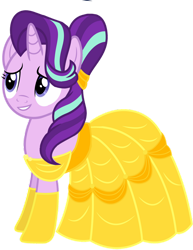 Size: 1280x1654 | Tagged: safe, artist:starlightglimmerfan1, starlight glimmer, pony, unicorn, beauty and the beast, belle, clothes, cosplay, costume, dress, simple background, solo, transparent background, vector