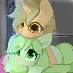 Size: 1000x1000 | Tagged: safe, artist:grithcourage, artist:mirroredsea, oc, oc only, oc:grith courage, earth pony, pony, unicorn, cute, duo, duo female, female, hug, interactive, looking at each other, looking up, mare, trace
