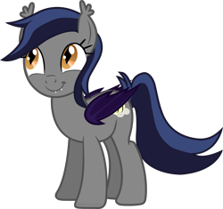 Size: 2200x2070 | Tagged: safe, artist:batponyecho, oc, oc only, oc:echo, bat pony, pony, bat pony oc, bat wings, cutie mark, digital art, fangs, female, happy, looking up, mare, oh you, pleased, simple background, smiling, solo, tail, transparent background, vector, wings