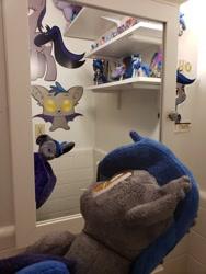 Size: 960x1280 | Tagged: safe, artist:batponyecho, oc, oc only, oc:echo, bat pony, pony, bat pony oc, bat wings, bathroom, cutie mark, mirror, plushie, tail, wings