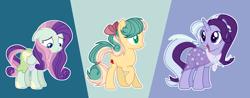 Size: 6000x2342   Tagged: safe, artist:tersisa, oc, oc only, earth pony, pegasus, pony, unicorn, female, high res, magical lesbian spawn, mare, offspring, parent:applejack, parent:bon bon, parent:fluttershy, parent:rarity, parent:starlight glimmer, parent:trixie, parents:flarity, parents:startrix