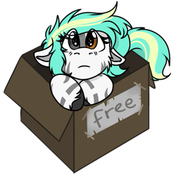 Size: 569x567 | Tagged: safe, artist:rokosmith26, part of a set, oc, oc only, oc:rokosmith, pegasus, pony, box, chibi, colored, cute, eye clipping through hair, female, floppy ears, heterochromia, looking at you, mare, puppy dog eyes, roko's box ponies, simple background, solo, stripes, text, transparent background, weapons-grade cute