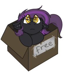 Size: 534x605 | Tagged: safe, artist:rokosmith26, part of a set, oc, oc only, oc:lunier constantine, bat pony, pony, box, chibi, colored, cute, eye clipping through hair, female, floppy ears, looking at you, mare, puppy dog eyes, roko's box ponies, simple background, solo, text, transparent background, weapons-grade cute
