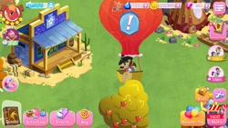 Size: 1280x720 | Tagged: safe, screencap, sheriff silverstar, earth pony, apple, apple tree, badge, balloon, balloon popping, barrel, cowboy hat, facial hair, gameloft, hat, hay bale, hot air balloon, jail, male, moustache, popping, tree