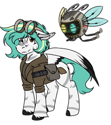 Size: 994x1123 | Tagged: safe, artist:rokosmith26, oc, oc only, oc:rokosmith, pegasus, pony, robot, fallout equestria, bag, clothes, colored wings, ear fluff, female, floppy ears, goggles, gun, heterochromia, hoof fluff, looking up, mare, messy mane, multicolored wings, short hair, short mane, simple background, solo, spread wings, spritebot, stripes, transparent background, weapon, wings