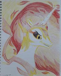 Size: 2190x2738 | Tagged: safe, artist:rockhoppr3, daybreaker, alicorn, pony, solo, traditional art