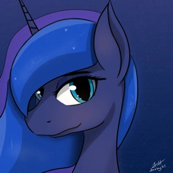 Size: 1024x1024 | Tagged: safe, artist:dashy21, princess luna, looking at you, night, solo