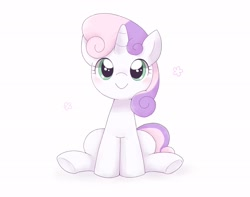Size: 2048x1610 | Tagged: safe, artist:arrow__root, sweetie belle, pony, unicorn, blushing, cute, diasweetes, female, filly, looking at you, simple background, sitting, smiling, smiling at you, solo, weapons-grade cute, white background