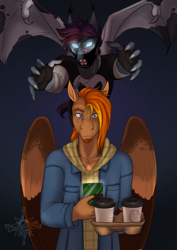 Size: 2865x4051 | Tagged: safe, artist:blackblood-queen, oc, oc only, oc:orpheus, oc:singe, anthro, bat pony, pegasus, anthro oc, bat pony oc, bat wings, cellphone, clothes, coffee, digital art, face mask, friends, glowing eyes, male, pegasus oc, phone, pounce, spread wings, stallion, story in the source, wings