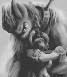 Size: 1000x1146 | Tagged: safe, artist:stdeadra, applejack, big macintosh, earth pony, pony, gray background, grayscale, monochrome, muscles, simple background