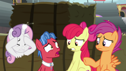 Size: 1920x1080 | Tagged: safe, screencap, apple bloom, biscuit, scootaloo, sweetie belle, growing up is hard to do, cutie mark crusaders, older