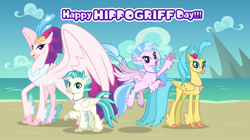 Size: 1280x719 | Tagged: safe, artist:andoanimalia, princess skystar, queen novo, silverstream, terramar, classical hippogriff, hippogriff, my little pony: the movie, aunt and nephew, aunt and niece, beach, brother and sister, cousins, female, hippogriffia, male, mother and child, mother and daughter, quartet, show accurate, siblings