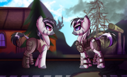 Size: 2800x1700   Tagged: safe, artist:elmutanto, oc, oc:terran, zebra, fallout equestria, before and after, male, stallion, wasteland
