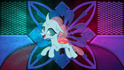 Size: 3840x2160 | Tagged: safe, artist:dashiesparkle edit, artist:laszlvfx, edit, ocellus, changedling, changeling, cute, diaocelles, happy, high res, open mouth, solo, wallpaper, wallpaper edit