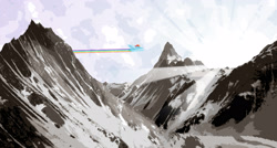 Size: 2909x1560   Tagged: safe, artist:zaid val'roa, rainbow dash, pegasus, pony, cover art, fanfic, fanfic art, fanfic cover, flying, mountain, rainbow trail, scenery, solo