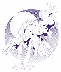 Size: 2364x2784 | Tagged: safe, artist:nekoshiei, princess luna, alicorn, pony, female, high res, mare, monochrome, profile, running, solo, splash, spread wings, wings