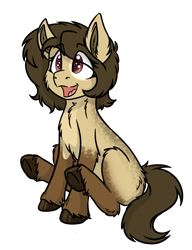 Size: 1089x1416 | Tagged: safe, artist:rokosmith26, oc, oc only, oc:layla crow, earth pony, pony, brown eyes, chest fluff, cute, ear fluff, eye clipping through hair, female, filly, fluffy, happy, hoof fluff, looking up, markings, messy mane, open mouth, short hair, short mane, simple background, sitting, solo, tail, transparent background, younger