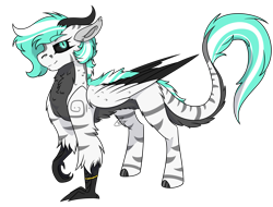Size: 2199x1675 | Tagged: safe, artist:rokosmith26, oc, oc only, oc:petroko smith, demon, hybrid, original species, pony, belly fluff, bracelet, chest fluff, claws, colored, colored wings, female, floppy ears, fluffy, folded wings, hooves, horn, jewelry, leg in air, mare, markings, multicolored wings, raised claw, short hair, short mane, simple background, slit eyes, slit pupils, solo, standing, stripes, tail fluff, transparent background, wings