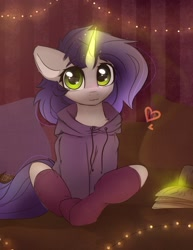 Size: 1324x1713   Tagged: safe, artist:reterica, oc, oc only, oc:moonsonat, pony, unicorn, :3, book, clothes, female, gift art, glowing horn, heart, hoodie, horn, looking at you, magic, mare, pillow, sitting, smiling, socks, solo, string lights