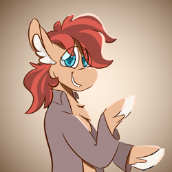 Size: 1800x1800 | Tagged: safe, artist:antimationyt, artist:bluestarsburst, oc, oc only, oc:cottonwood kindle, earth pony, pony, chest fluff, clothes, ear fluff, eye clipping through hair, gift art, gradient background, looking at you, male, raised hoof, shirt, smiling, solo, stallion
