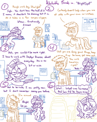 Size: 4779x6013 | Tagged: safe, artist:adorkabletwilightandfriends, starlight glimmer, oc, comic:adorkable twilight and friends, adorkable, adorkable friends, break room, butt, car, co-workers, comic, conversation, cute, dork, driving, emotional, emotional labor, employee, female, friendly, gossip, grocery store, happy, humor, implied zephyr breeze, leaning, leaning forward, male, mare, newspaper, plot, sitting, slice of life, smiling, stallion, stubble, tired, work, workplace