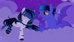 Size: 2108x1200 | Tagged: safe, artist:shinningblossom12, oc, oc only, bat pony, pony, base used, bat pony oc, bat wings, choker, clothes, cloud, ear freckles, female, freckles, hair over one eye, male, mare, night, oc x oc, on a cloud, open mouth, outdoors, shipping, smiling, socks, stallion, stars, straight, striped socks, wings
