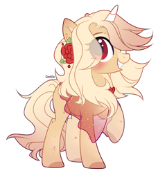 Size: 1920x2103 | Tagged: safe, artist:lazuli, oc, oc only, pony, unicorn, clothes, commission, flower, flower in hair, grin, horn, raised hoof, simple background, smiling, solo, transparent background, unicorn oc, ych result