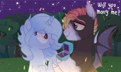 Size: 2048x1216 | Tagged: safe, artist:shinningblossom12, oc, oc only, bat pony, pony, unicorn, base used, bat pony oc, bat wings, female, horn, looking at each other, male, mare, night, oc x oc, open mouth, outdoors, shipping, smiling, stallion, stars, straight, talking, tree, unicorn oc, wings