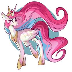 Size: 3850x3850 | Tagged: safe, artist:canisrettmajoris, princess celestia, alicorn, pony, crown, digital art, female, flowing mane, flowing tail, jewelry, mare, regalia, simple background, smiling, solo, walking
