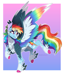 Size: 1234x1424 | Tagged: safe, artist:wanderingpegasus, rainbow dash, pegasus, pony, alternate design, colored hooves, colored wings, digital art, feathered fetlocks, female, gradient background, looking back, mare, multicolored wings, rainbow wings, smiling, solo, spread wings, wings