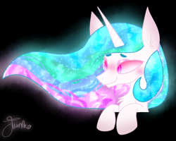 Size: 1000x800 | Tagged: safe, artist:junko, princess celestia, alicorn, pony, beanbrows, big ears, black background, bust, chest fluff, cute, cutelestia, ear fluff, ethereal mane, eyebrows, female, glowing mane, looking offscreen, mare, peeking, signature, simple background, smiling, solo, sparkles