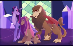Size: 1280x812 | Tagged: safe, artist:cyanreef, scorpan, twilight sparkle, oc, oc:athena, alicorn, hybrid, pony, alternate hairstyle, family, female, interspecies offspring, male, offspring, parent:scorpan, parent:twilight sparkle, parents:scorlight, scorlight, shipping, straight, twilight sparkle (alicorn), twilight's castle