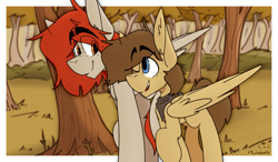 Size: 2649x1543   Tagged: safe, artist:kirbirb, oc, oc only, oc:scarlett lane, oc:snaggletooth, pegasus, pony, forest, freckles, male, outdoors