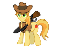 Size: 648x504 | Tagged: safe, artist:divebomb5, braeburn, fanfic:treasure in the west, clothes, digital art, gun, hat, lever action rifle, rifle, simple background, smiling, solo, vest, weapon, white background