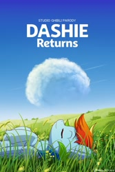 Size: 1280x1920 | Tagged: safe, artist:symbianl, rainbow dash, pegasus, pony, cloud, cute, dashabetes, eyes closed, female, hooves to the chest, lying down, lying in grass, on back, parody, solo, studio ghibli, the cat returns